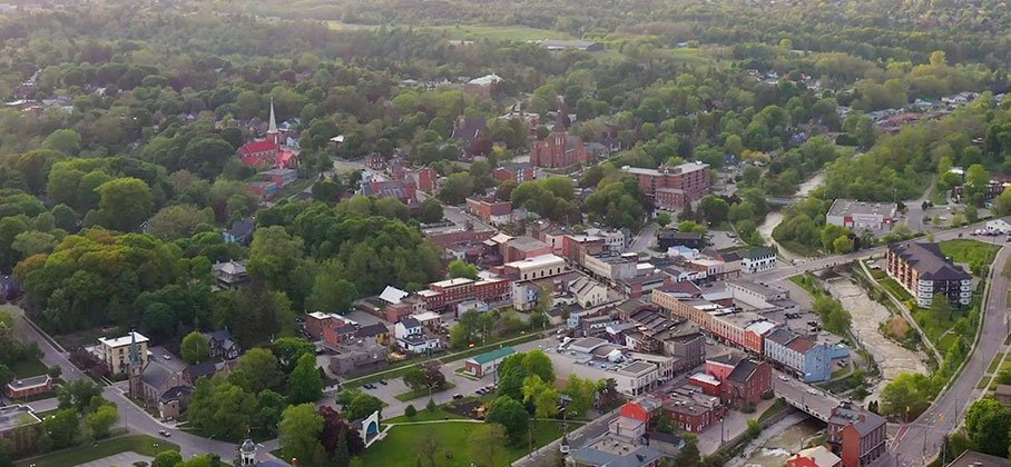 Aerial photo of Port Hope downtown looking east towards rural Port Hope