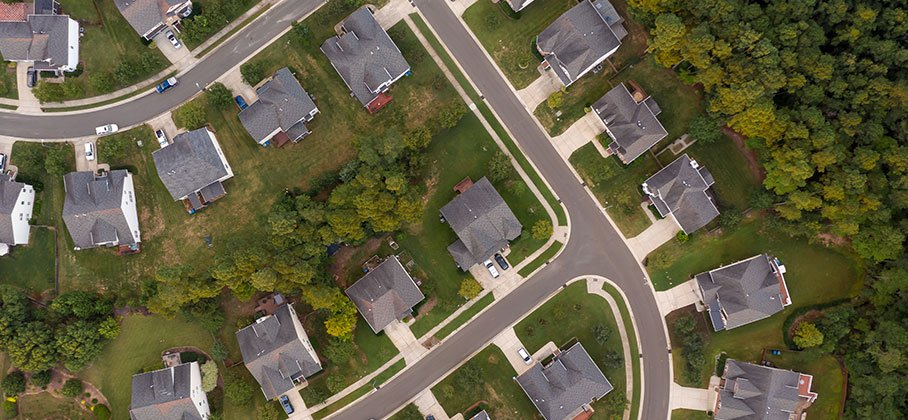 birds eye view of a residential street