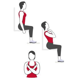 Instructional illustration of woman doing a seated curl up