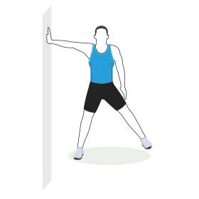 Instructional illustration of man doing a standing leg lifts