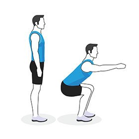 Instructional illustration of man doing a squat
