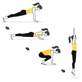 Instructional illustration of girl doing a burpee