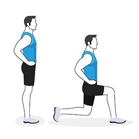 Instructional illustration of man doing a lunge