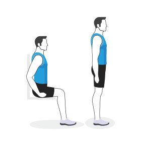 Instructional illustration of man doing a sit to stand exercise